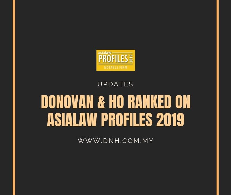 Donovan & Ho ranked on Asialaw Profiles 2019