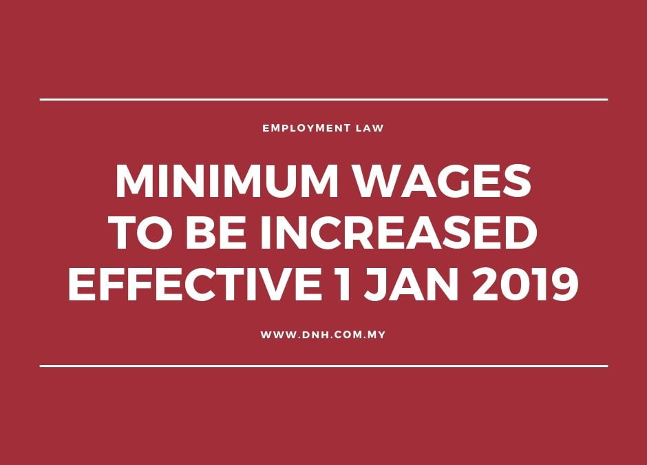 Increase to Minimum Wage Effective 1 January 2019